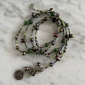 Green Mother of Pearl Beaded 'Om' Yoga Bracelet